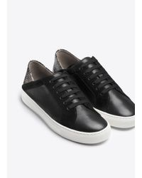 Vince | Black Anette Texture Blocked Leather Sneaker | Lyst