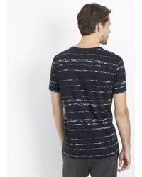Vince - Black Slub Cotton Shadow Stripe V-neck Tee for Men - Lyst