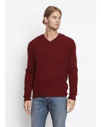 Vince | Red Cashmere Long Sleeve V-neck for Men | Lyst