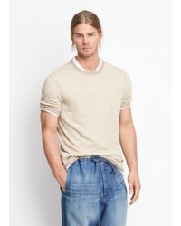 Vince Natural Sweater Trim Crew Neck Tee for men