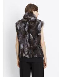 Vince Black Silver Fox Fur Vest