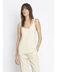 VINCE   White Textured Tank   Lyst