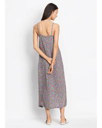 Vince - Gray Multi Floral Silk Pleat Neck Slip Dress - Lyst