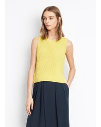 Vince Yellow Chunky Rib Sleeveless Crew