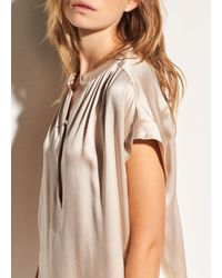 Vince - Natural Shirred Neck Silk Pullover - Lyst