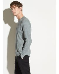 Vince Gray Waffle Long Sleeve Pullover for men