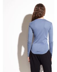 Vince - Blue Shirttail Long Sleeve Pima Cotton Top - Lyst