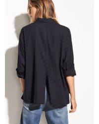 Vince Blue Single Pocket Cotton And Silk Shirt