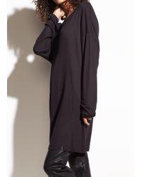 Vince Black Long Sleeve Marled Drapey Jersey Tunic
