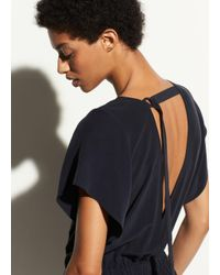 Vince Blue Flutter Cap Sleeve Silk Jumpsuit