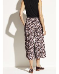 Vince Multicolor Micro Painted Floral Pleated Culotte
