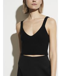 Vince Black Cropped Cashmere Sweater Tank