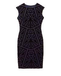 Vince Camuto Blue Geo-print Velvet Dress