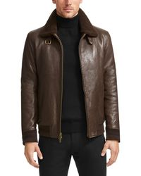 Vince Camuto | Brown Leather Aviator Jacket for Men | Lyst