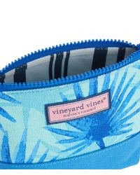 Vineyard Vines Blue Electric Palm Printed Cosmetic Case