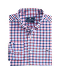 Vineyard Vines Blue Classic Fit Bermuda Check On-the-go Performance Tucker Button Down Shirt for men
