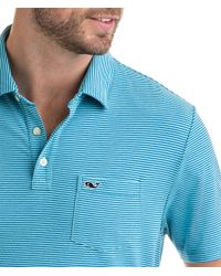 Vineyard Vines Blue Contrast Feeder Stripe Edgartown Polo for men