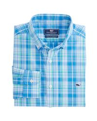 Vineyard Vines Blue New Providence Plaid Classic Tucker Shirt for men