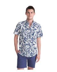 Vineyard Vines Blue Short-sleeve Tropical Print Slim Tucker Shirt for men