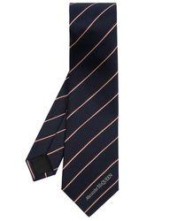 Alexander McQueen Blue Silk Tie With Logo for men