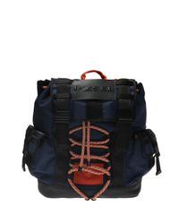 DIESEL Blue Backpack With A Decorative Tie-up for men