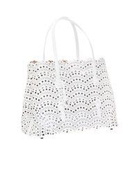 Alaïa White 'mina' Perforated Shoulder Bag