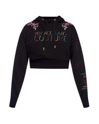 Versace Jeans Men's Embossed Logo Cropped Hoodie Black
