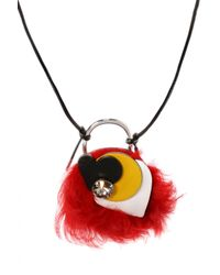Marni - Multicolor Necklace With Fur Charm - Lyst