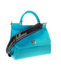 Dolce & Gabbana Blue 'sicily' Shoulder Bag With Logo