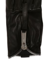 DSquared² Black Leather Gloves With Zipper