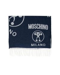Moschino Wool Logo Scarf Navy Blue for men