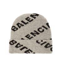 Balenciaga Gray Logo Wool-blend Beanie for men