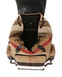 Burberry - Brown Canvas Backpack for Men - Lyst