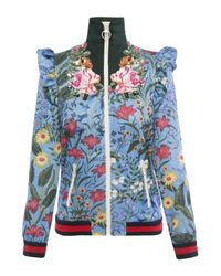 Gucci Blue 'embroidered New Flora' Sweatshirt