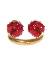 Gucci - Metallic Ring With Resin Pearls - Lyst