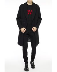 Emporio Armani - Black Single-vented Coat for Men - Lyst