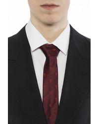Alexander McQueen Red Silk Tie With Skulls for men