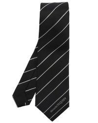 Alexander McQueen Black Silk Tie With Logo for men