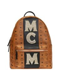 MCM - Brown 'stark' Backpack With Studs for Men - Lyst
