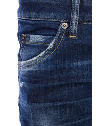 DSquared² Blue Distressed Denim Shorts