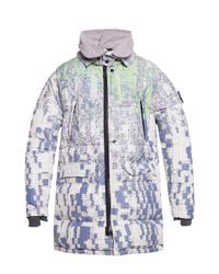 Stone Island White Printed Down Jacket for men