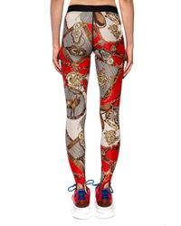 Palm Angels Red Patterned leggings
