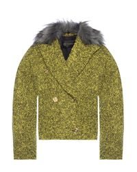 Versace Fur Trim Jacket Yellow