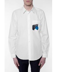 Paul Smith White Shirt With Printed Pocket for men