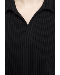 Homme Plissé Issey Miyake Black Textured Polo for men