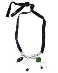 Marni Blue Velvet Necklace With Pendants