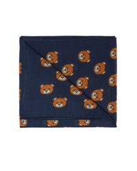 Moschino Blue Patterned Scarf for men