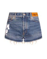 Heron Preston Blue Denim Shorts With Logo
