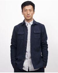 Scotch & Soda - Blue Scotch And Soda Woollen Winter Shirt - Navy Spk for Men - Lyst