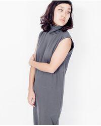 Kowtow Multicolor Rib Roll Neck Dress / Charcoal